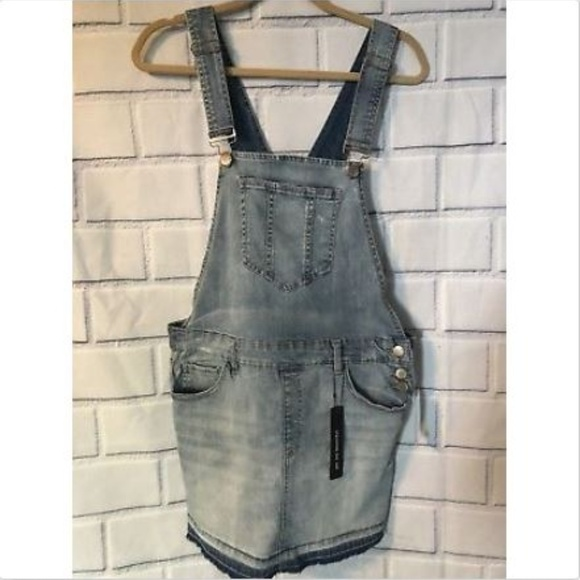 7395eb6562efa NWT Dollhouse Blue Jean Bib Overall Skirt Sz 13